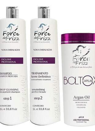 Kit force de frizz escova semi definitiva + máscara argan oil 1kg