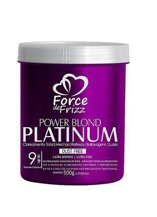 Pó descolorante power blond platinum force de frizz 500g