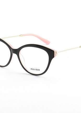 Armacao de óculos feminino miu miu vmu0082 preto e rosa