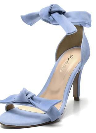 Sandalia social feminina salto alto fino laço azul claro
