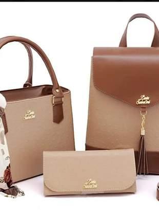 Bolsa feminina transversal e mochila mais lenço e carteira