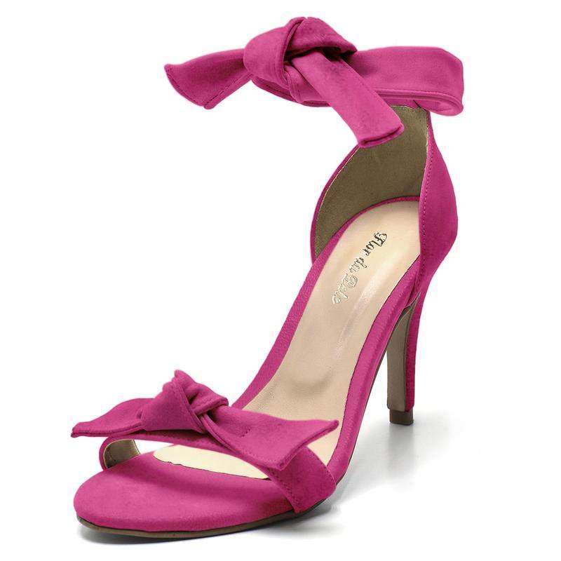 024641509 Sandalia social feminina salto alto fino laço rosa pink - R$ 119.90 ...