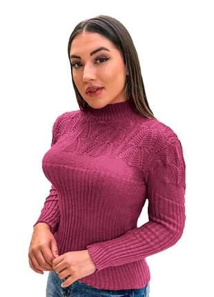 Blusa suéter tricot cardigan detalhada gola alta r:989 (pink)