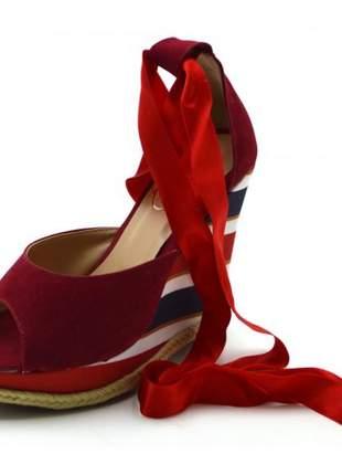 Sandália anabela salto plataforma listrado vermelha amarrar na perna fita