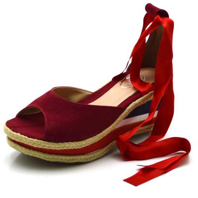 930f5375b1 Sandália anabela salto médio tiras paralelas vermelha amarrar na perna1 ...
