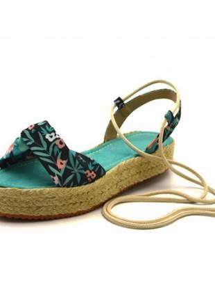 Sandália rasteira flat avarca tropical azul turqueza