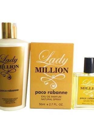 Kit perfume + hidratante feminino importado lady million linha premium