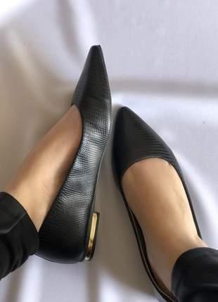 Sapatilha feminina bico fino preto
