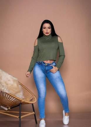 Blusinha blusa manga longa gola alta ombro aberto feminina