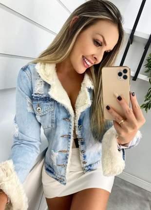 Jaqueta jeans feminina forrada pelúcia carmen carmenere