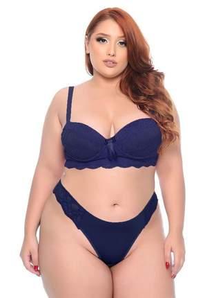 Conjunto lingerie plus size navy blue com bojo e lacinho