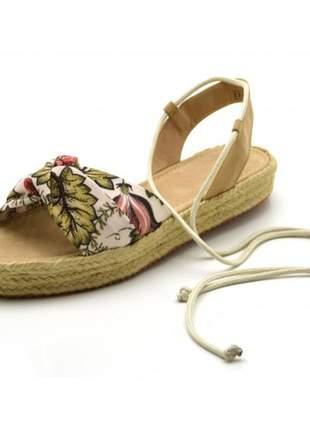 Sandália espadrille flat avarca em tecido floral verão