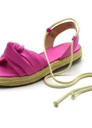 Sandália rasteira flat avarca em napa rosa pink