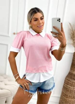 Blusa gola camisa tecido malha canelada