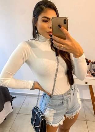 Blusa manga longa gola alta  básica tecido com elastano