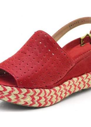 Sandália anabela perfurada salto médio vermelha e corda com vermelho