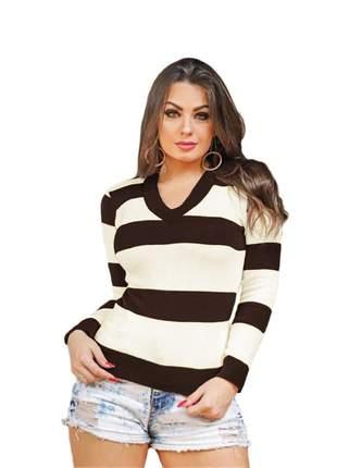 Blusa tricô tricot listrada feminina suéter gola v ref:954(marrom)