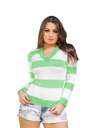 Blusa tricô tricot listrada feminina suéter gola v ref:954(verde-claro)