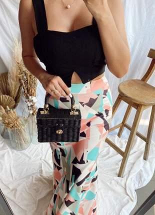 Conjunto luxo de festa de saia longa e cropped