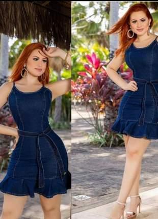 Vestido boneca jeans c/ lycra