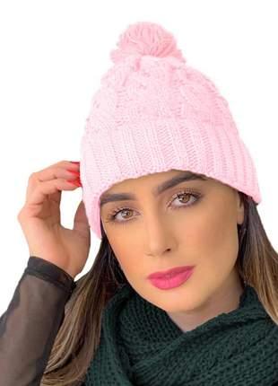 Gorro touca tricot lã forrada pelúcia com pompom ref:992(rosa)