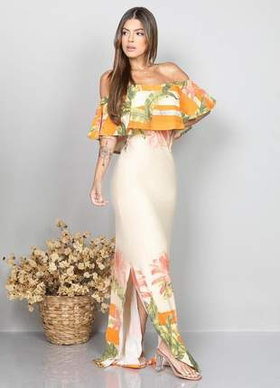 Vestido longo ciganinha estampado