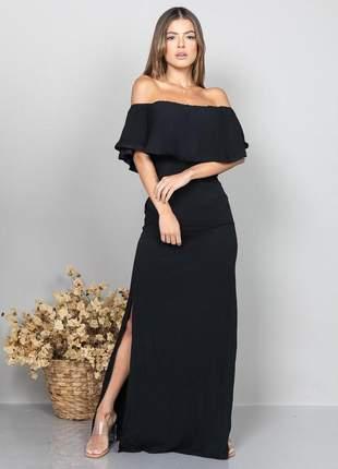Vestido longo ciganinha preto