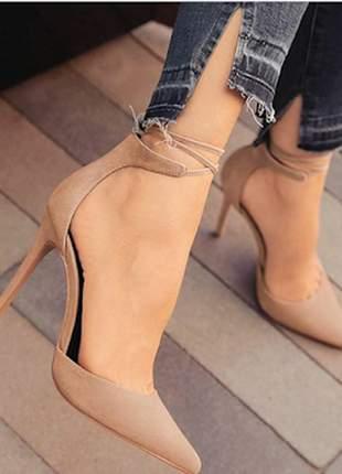 Sapatos scarpins femininos de amarrar na perna nobuck