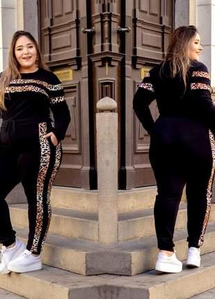 Conjunto de calça e blusa manga longa plus size