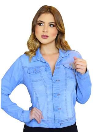 Jaqueta feminina colarinho manga longa e botões. ref: 733(azul)