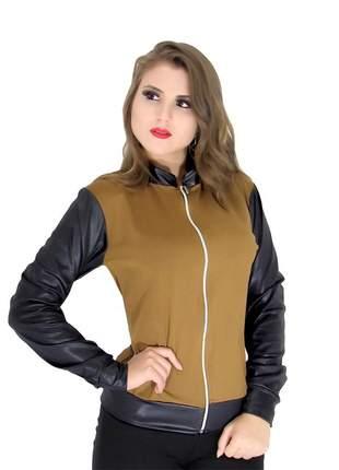 Jaqueta bomber feminina em cirrê couro fake inverno ref: 439(caramelo)