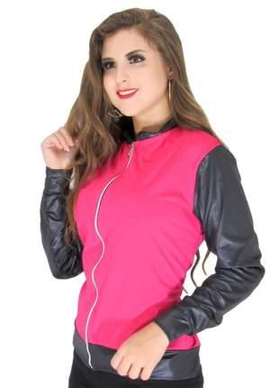 Jaqueta bomber feminina em cirrê couro fake inverno ref: 439(rosa)