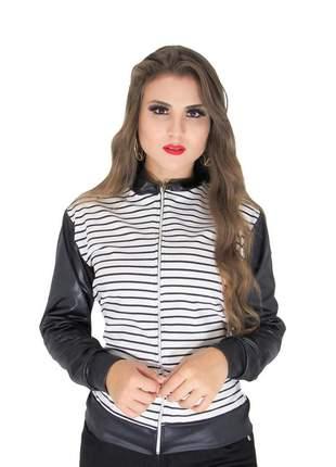 Jaqueta bomber feminina em cirrê couro fake inverno ref: 439(branco/preto)