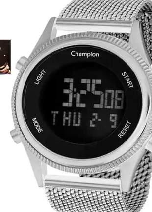 Relógio champion feminino digital prata cronometro ch48082t
