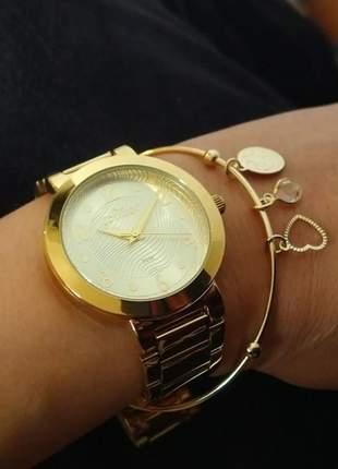 Relógio condor feminino dourado banhado a ouro com semi joia
