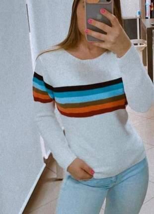 Blusa linha/lã branca arco iris manga longa