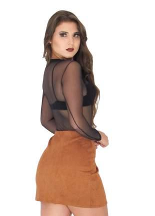 Body feminino de tule transparente bruna marquezine ref 129 (preto)