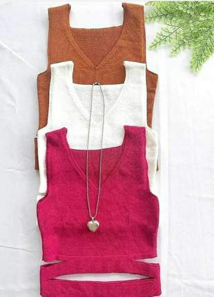 Blusa cropped feminina regata tricõ modal com recorte moda menina.