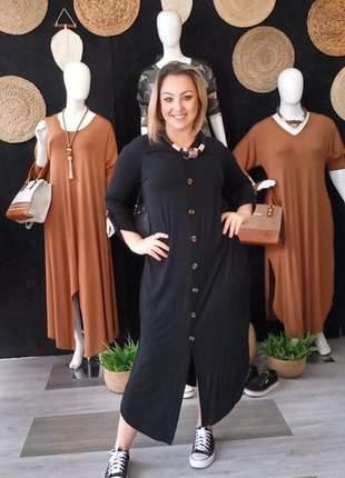 Vestido feminino longo camisa chamise botoes na frente manga longa.