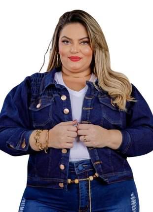 Jaqueta jeans princesa plus size dolce sedutti azul marinho