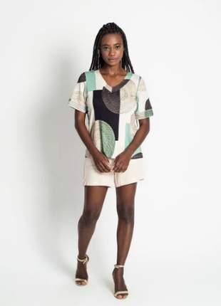 Blusa feminina estampada verde verão coleção nova  e137286054
