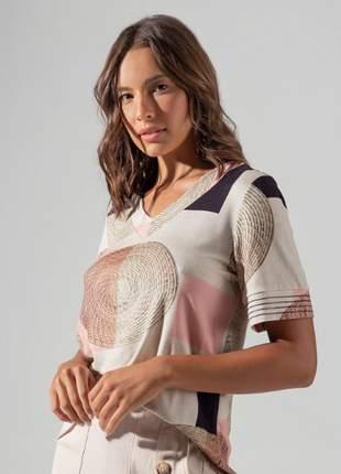 Blusa feminina estampada rosa moda tendência verão coleção nova e137283041