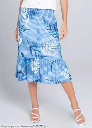 Saia midi estampada feminina azul e137881330