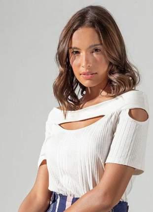 Blusa ciganinha detalhada feminina off white e13727022