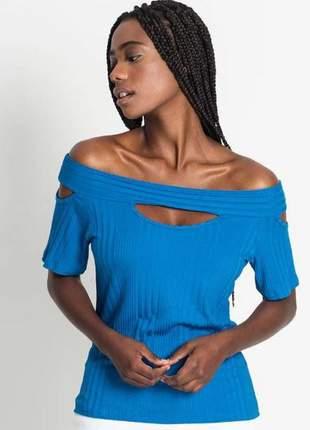 Blusa ciganinha detalhada feminina azul e137271562