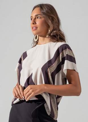 Blusa feminina recortes  bege e13731022