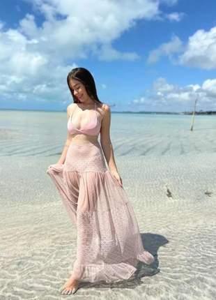 Saída de praia tule bordado sofisticada tendência verão