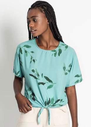 Blusa amarração feminina estampada verde e137756054
