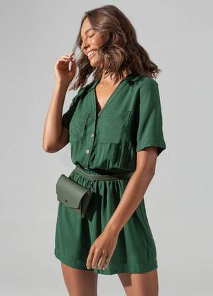 Macaquinho viscose sarjada  verde feminino e13712736