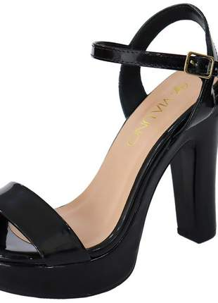 Sandália feminina via uno salto alto preto verniz 311021sbavv